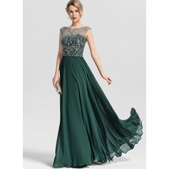 A-Line Scoop Neck Floor-Length Chiffon Prom Dresses With Beading Sequins (272253284)