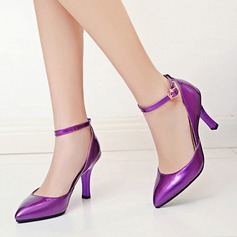 Women's Patent Leather Stiletto Heel Sandals Pumps Closed Toe With Buckle shoes