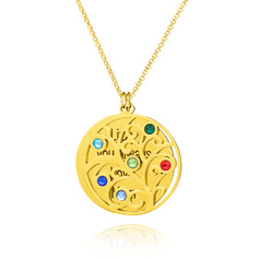 Custom 18k Gold Plated Silver Engraving/Engraved Six Birthstone Necklace Engraved Necklace Circle Necklace With Family Tree - Birthday Gifts Mother's Day Gifts