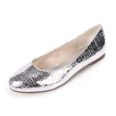 Women's Patent Leather Flat Heel Flats With Animal Print