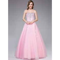 Ball-Gown Sweetheart Floor-Length Tulle Evening Dress With Beading