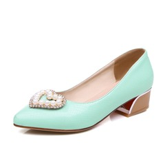 Leatherette Chunky Heel Pumps Closed Toe With Rhinestone shoes