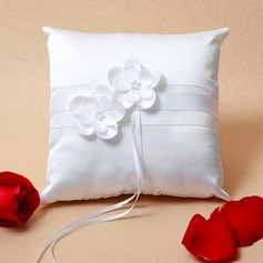 Square Ring Pillow in Satin With Ribbons/Faux Pearl/Flowers