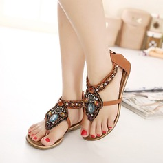 Women's Leatherette Flat Heel Sandals With Beading Rivet Zipper Chain shoes (087119001)