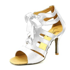 Women's Satin Heels Sandals Pumps Latin With Lace-up Dance Shoes