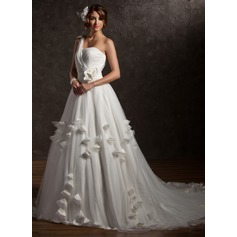 Ball-Gown One-Shoulder Chapel Train Tulle Wedding Dress With Ruffle Beading Appliques Lace Flower(s)