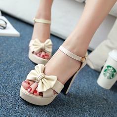 Femmes Similicuir Talon bottier Escarpins Plateforme avec Bowknot chaussures