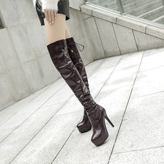 Women's PU Stiletto Heel Pumps Platform Boots Knee High Boots With Lace-up shoes