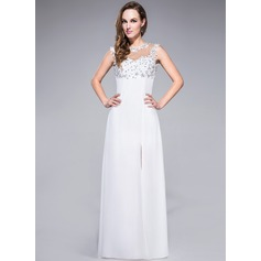 Sheath/Column Scoop Neck Floor-Length Chiffon Prom Dresses With Lace Beading Sequins Split Front