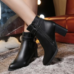 Women's PU Chunky Heel Pumps Closed Toe Ankle Boots With Sparkling Glitter Zipper shoes