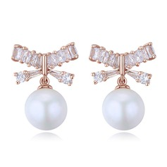 Charming Pearl/Copper/Zircon With Cubic Zirconia Earrings