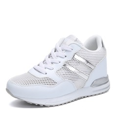 Women's Leather Mesh With Lace-up Sneakers & Athletic
