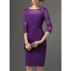 Polyester With Embroidery/Rhinestone Above Knee Dress (199136537)