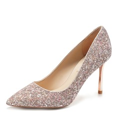 Women's Leatherette Sparkling Glitter Spool Heel Closed Toe Pumps