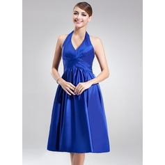 A-Line/Princess Halter Knee-Length Charmeuse Bridesmaid Dress With Ruffle