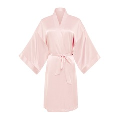 Bride Bridesmaid charmeuse With Tea-Length Kimono Robes