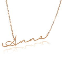 Custom 18k Rose Gold Plated Silver Signature Nameplate Name Necklace (288211274)
