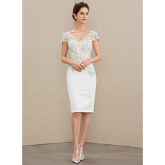 Sheath/Column V-neck Knee-Length Satin Lace Wedding Dress (265246176)