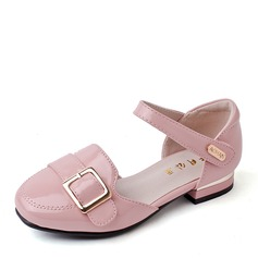 Girl's Closed Toe Ballet Flat Microfiber Leather Flat Heel Flats Flower Girl Shoes With Buckle Velcro