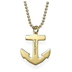 Custom 18k Gold Plated Silver Anchor Engraved Necklace - Birthday Gifts Mother's Day Gifts