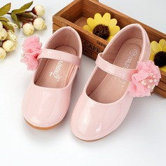 Girl's Round Toe Microfiber Leather Flat Heel Flats Flower Girl Shoes With Velcro Flower