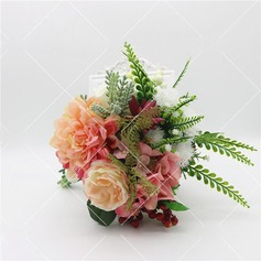 Hand-tied Satin/Emulational Berries/Plastic Bridal Bouquets/Bridesmaid Bouquets -