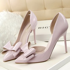 Women's Patent Leather Stiletto Heel Pumps Closed Toe With Bowknot shoes (085114810)