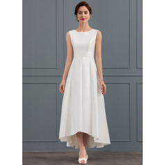 A-Line/Princess Square Neckline Asymmetrical Satin Wedding Dress