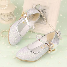 Girl's Closed Toe Leatherette Low Heel Pumps Flower Girl Shoes With Bowknot Sparkling Glitter Velcro