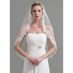 One-tier Lace Applique Edge Fingertip Bridal Veils With Applique/Lace (006095193)