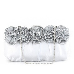 Elegant Satin/Silk With Flower Clutches