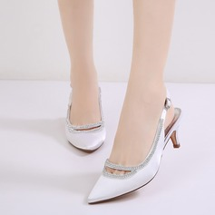 Women's Silk Like Satin Stiletto Heel Closed Toe Pumps Sandals Slingbacks With Buckle Rhinestone