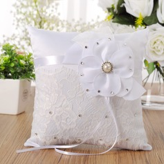 Lovely Ring Pillow in Cloth With Ribbons/Rhinestones/Faux Pearl/Flowers
