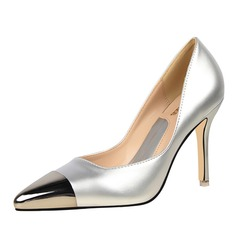 Women's Patent Leather Stiletto Heel Pumps Closed Toe With Split Joint shoes