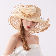 Ladies' Glamourous/Eye-catching Organza With Rhinestone Beach/Sun Hats/Kentucky Derby Hats/Tea Party Hats (196230915)