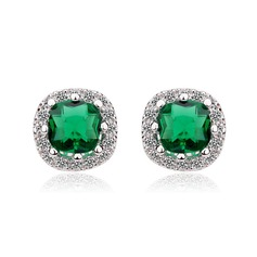 Elegant Zircon/Platinum Plated Ladies' Earrings