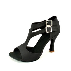 Women's Suede Heels Sandals Latin With Buckle Dance Shoes