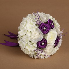 Romantic Round Satin/Silk/Tulle Bridal Bouquets
