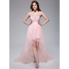 Empire Sweetheart Asymmetrical Tulle Prom Dress With Ruffle Beading Appliques Lace Sequins