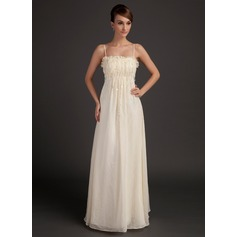A-Line/Princess Floor-Length Chiffon Holiday Dress With Ruffle Beading Flower(s) (020015508)