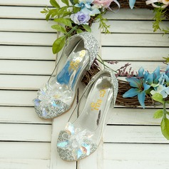 Girl's Closed Toe Sparkling Glitter Low Heel Flats Flower Girl Shoes With Rhinestone