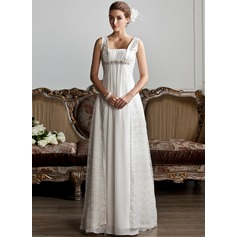 A-Line/Princess Square Neckline Sweep Train Chiffon Lace Wedding Dress With Ruffle Beading