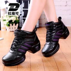Women's Real Leather Fabric Sneakers Sneakers With Lace-up Dance Shoes