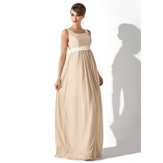 Empire Square Neckline Floor-Length Chiffon Maternity Bridesmaid Dress With Sash (045004409)