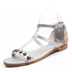 Women's Leatherette Flat Heel Sandals Flats Peep Toe Slingbacks With Rivet Buckle shoes