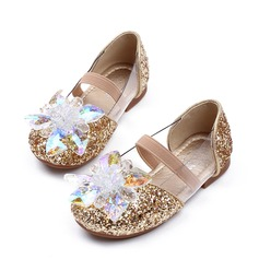 Girl's Closed Toe Mary Jane Sparkling Glitter Flat Heel Flats Flower Girl Shoes With Rhinestone
