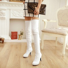 Women's PU Stiletto Heel Pumps Platform Boots Over The Knee Boots With Zipper shoes (088140242)