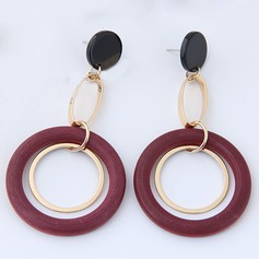 Chic Alloy Wood Women's Fashion Earrings (Set of 2)