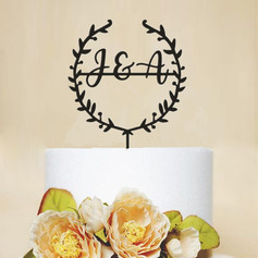Personalized Mr. & Mrs./Flower/Wreath Acrylic Cake Topper