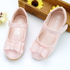 Jentas Round Toe Leather flat Heel Flate sko Flower Girl Shoes med Bowknot Velcro